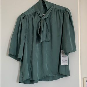 Satin Green Blouse New